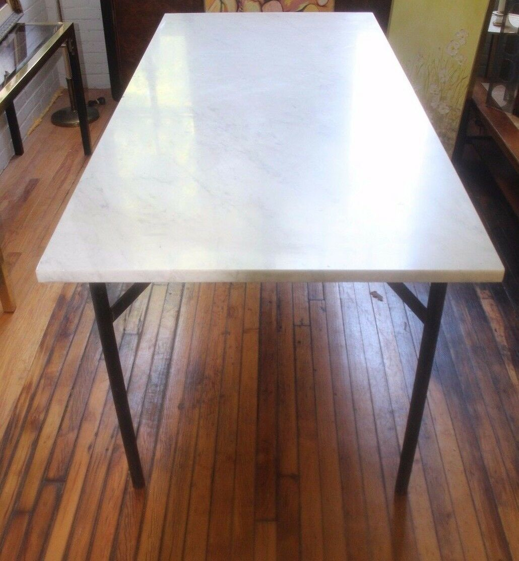 GORGEOUS CUSTOM MARBLE Dining Table With Steel Base Vintage Mid - Mid century marble dining table