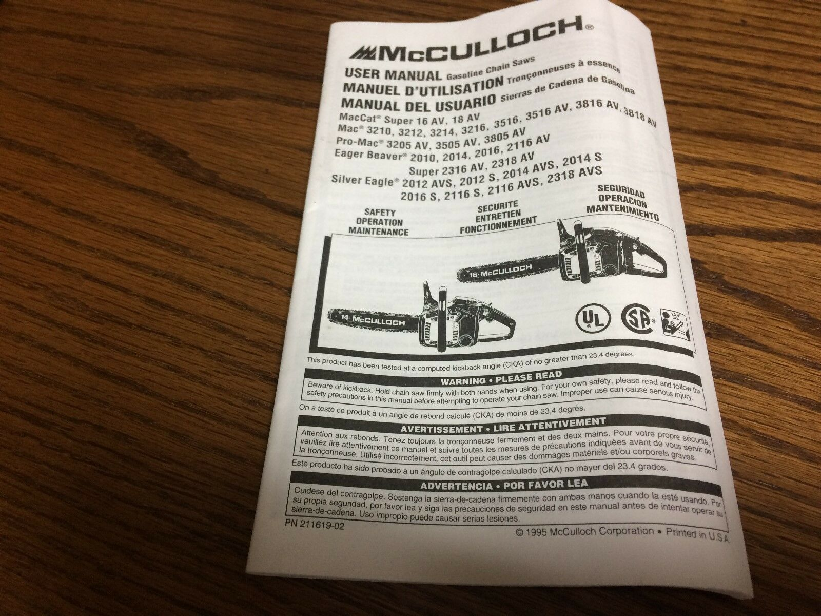 McCULLOCH CHAINSAW USER MANUAL - 3200 3500 3800 EAGER BEAVER SILVER EAGLE 1  of 2 See More