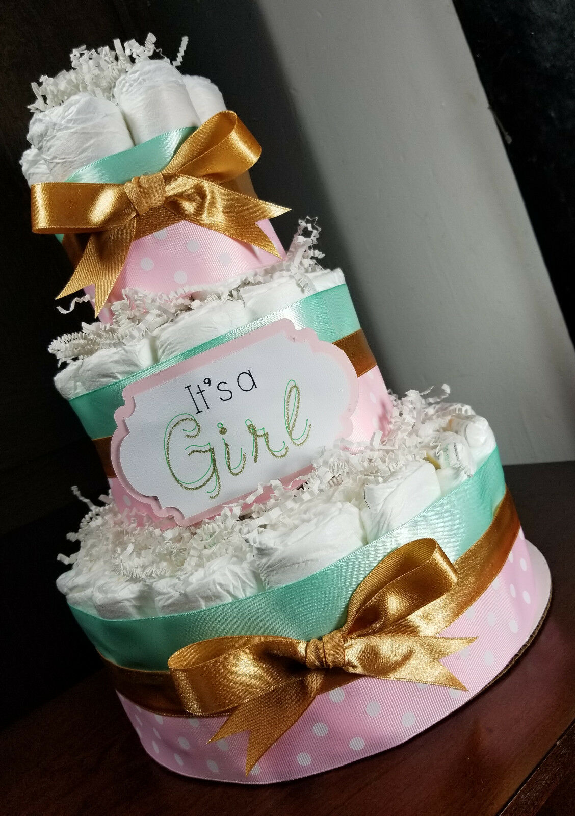 3 Tier Diaper Cake Pink Mint And Gold Diaper Cake For Baby Girl