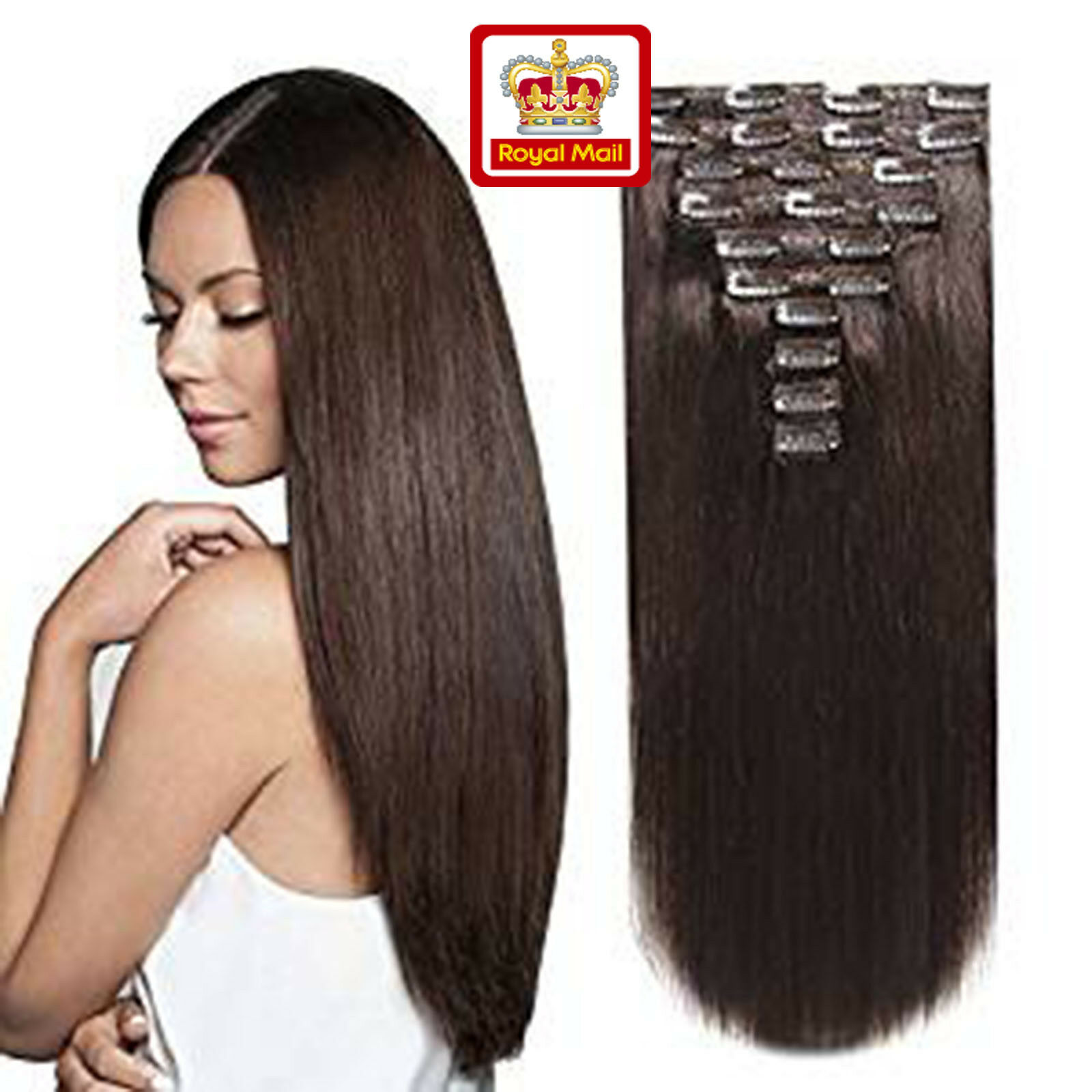Extra Thick Clip In Remy Real Human Hair Extensions Full Head Double