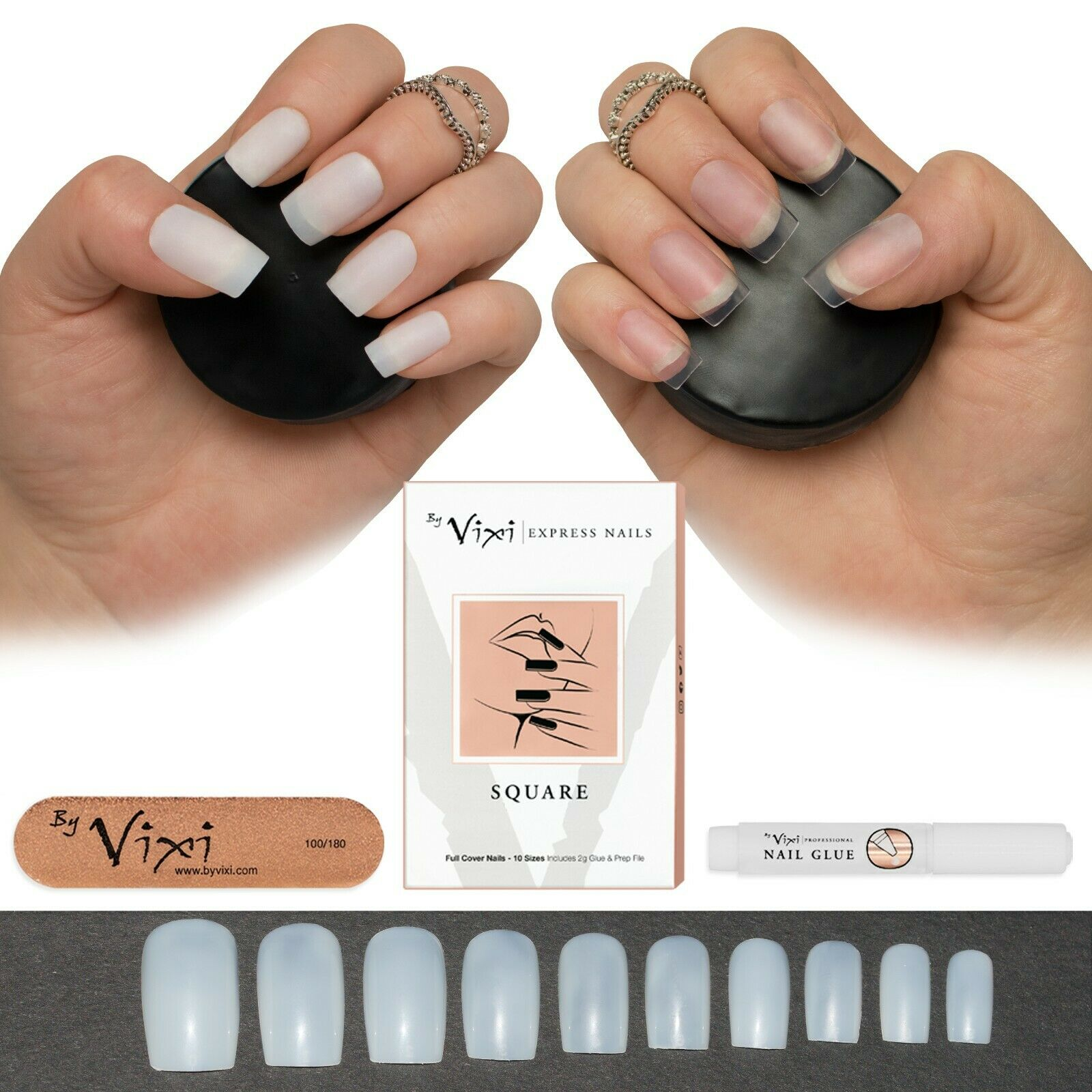 50-600 SQUARE NAILS ✓ Short/Medium & Long ✓ Opaque/Clear Full ...