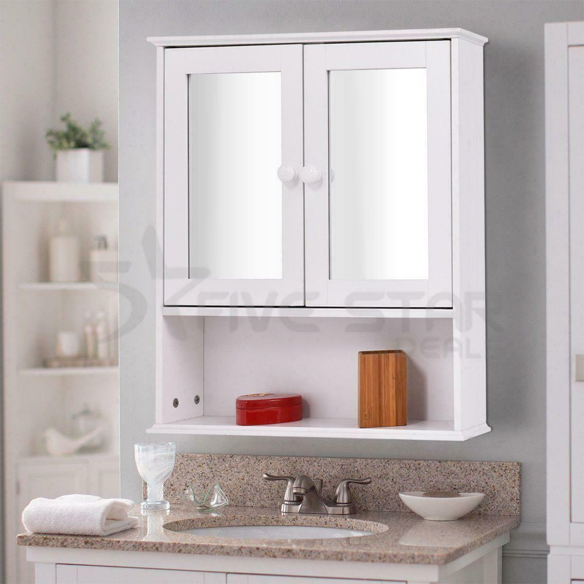 NEW ELEGANT BATHROOM Wall Cabinet Double Mirror Door Wooden Shelf ...