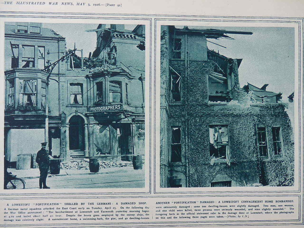 1916 LOWESTOFT Bombardment Damage; ; Well-Known Americans Prep ...
