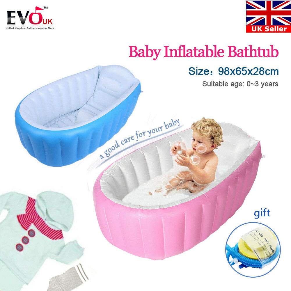 INFLATABLE PORTABLE TRAVEL Compact Toddler Infant Kids Baby Bath Tub ...
