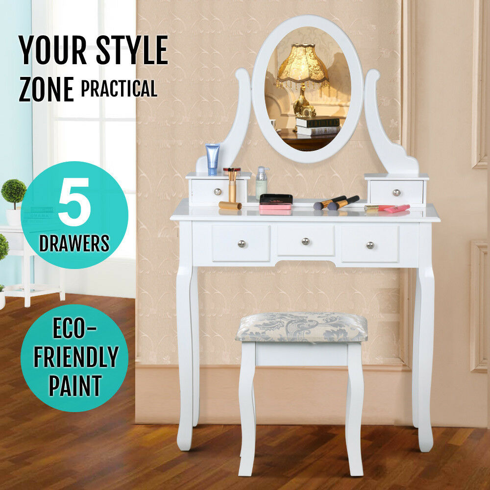 5 Drawers White Dressing Table Makeup Desk Dresser With Stool Removable Mirror 1 Of 11free