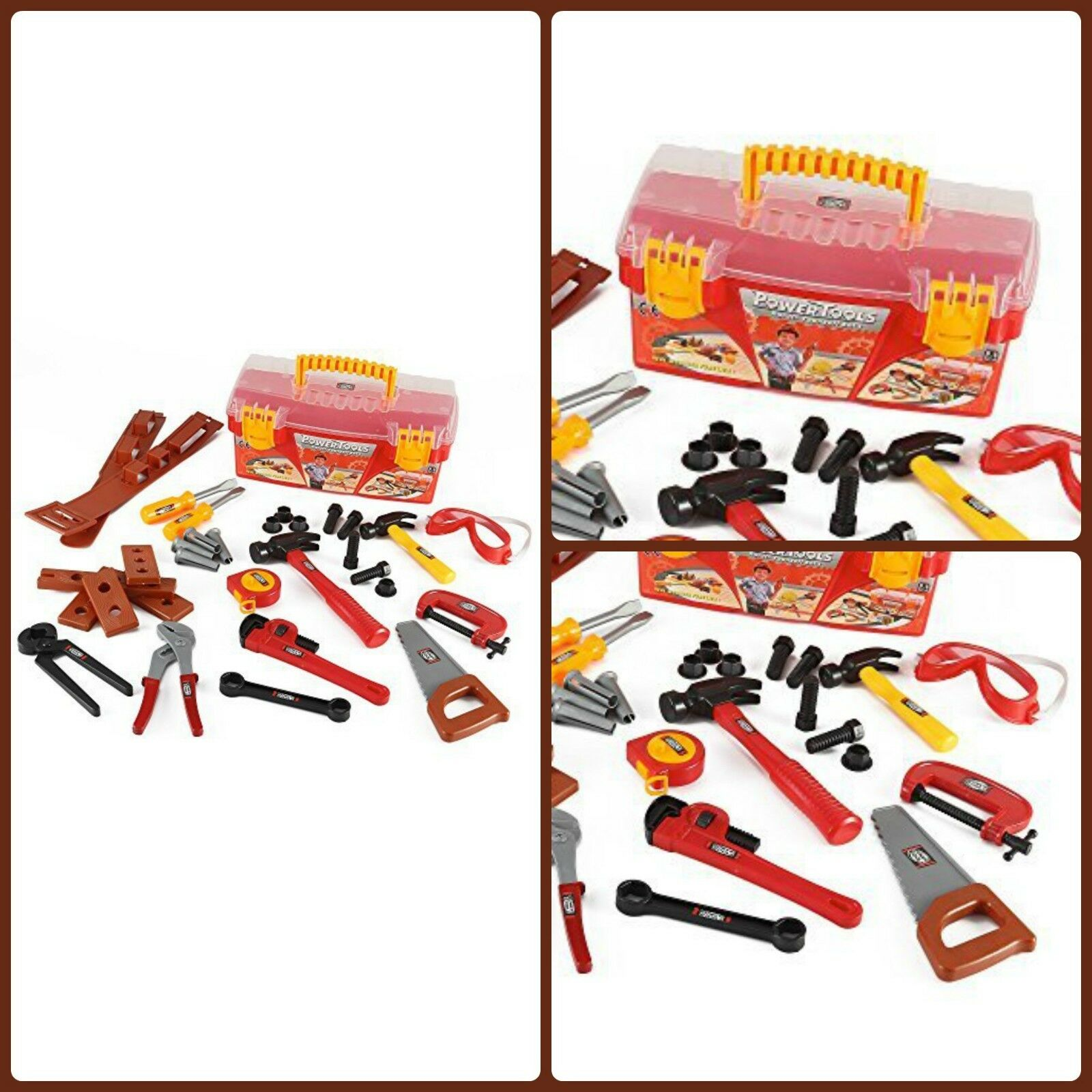 KIDS POWER WORK Construction Tool Box With 31 Pcs Pretend Play Toy ...