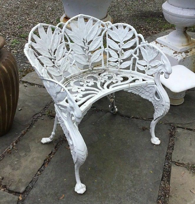 Vintage Antique Cast Iron Figural Winged Griffin Garden Chair Signed Hart 1 Of 7only Available