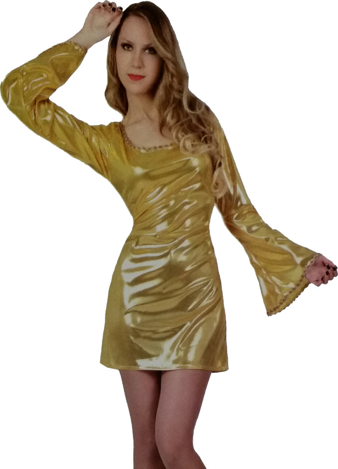 DISKO KLEID GOLD 40/42 Party Outfit Mottoparty Clubkleid Partykleid ...