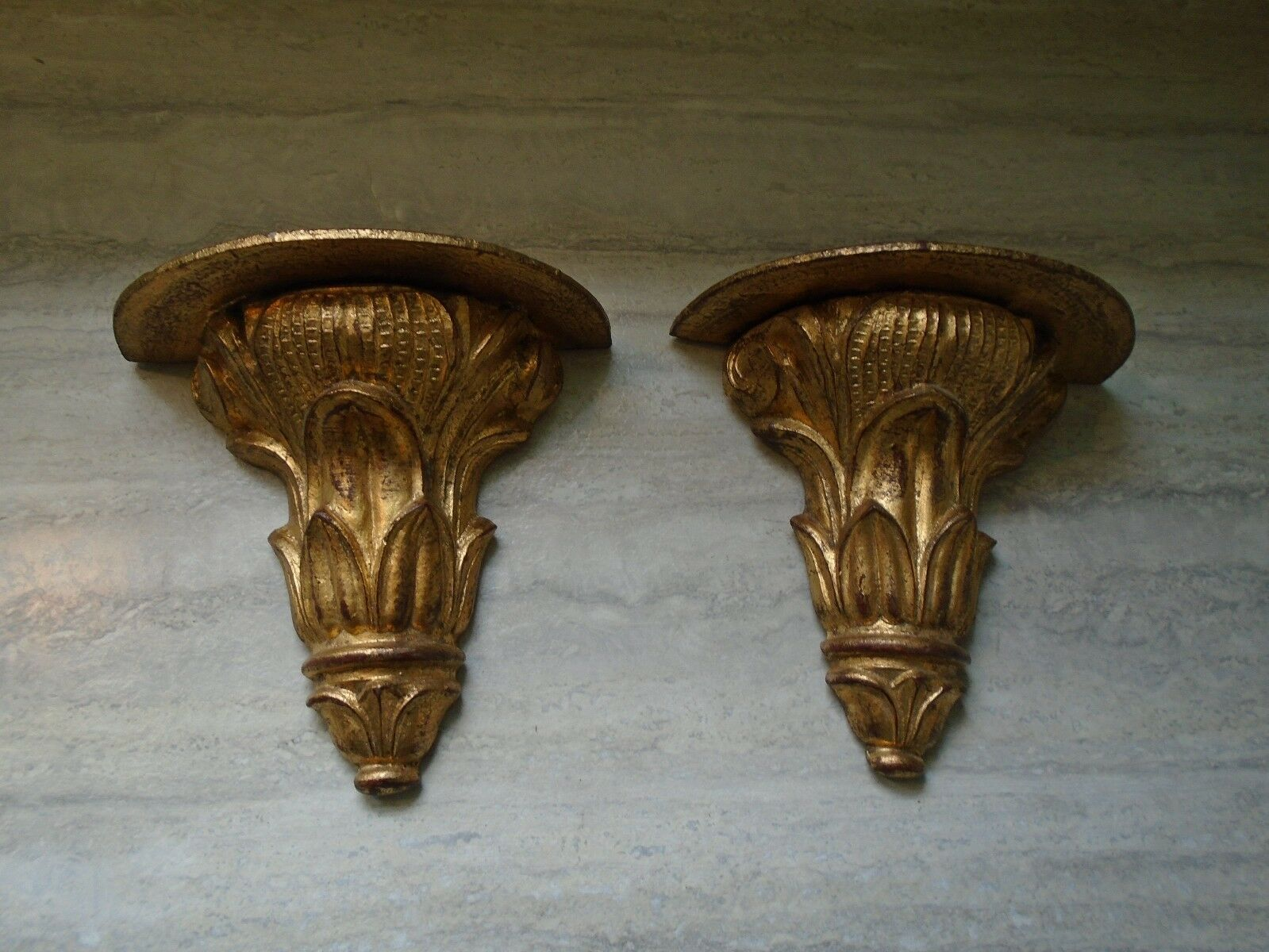 Vintage Gold Florentine Italy Carved Wood Wall Sconce Shelf Pair