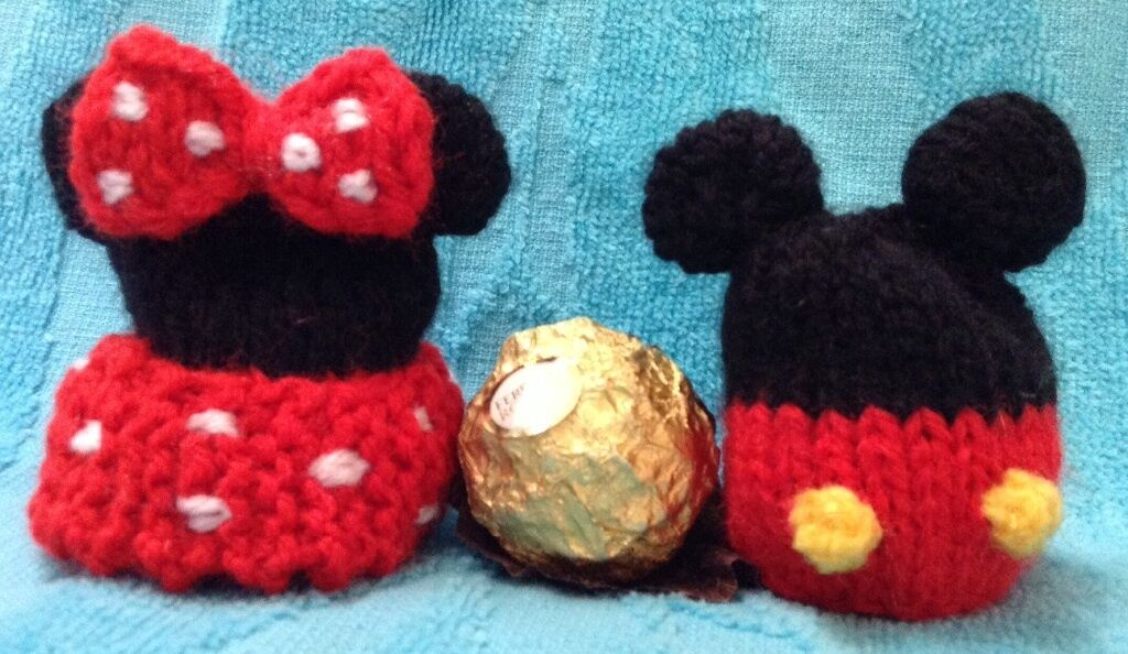Knitting Pattern Mickey Minnie Mouse Inspired Chocolate Cover