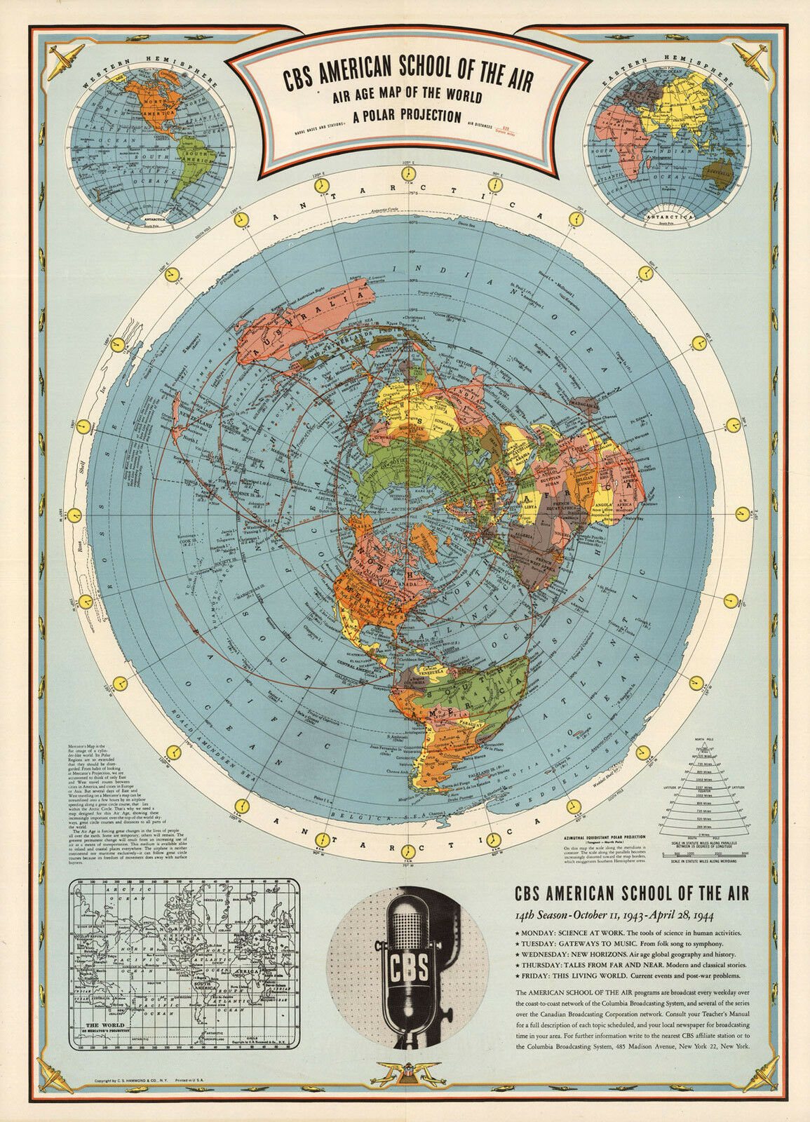 1944 flat earth air age map of the world azimuthal equidistant polar 1944 flat earth air age map of the world azimuthal equidistant polar projection 1 of 2free shipping gumiabroncs Image collections