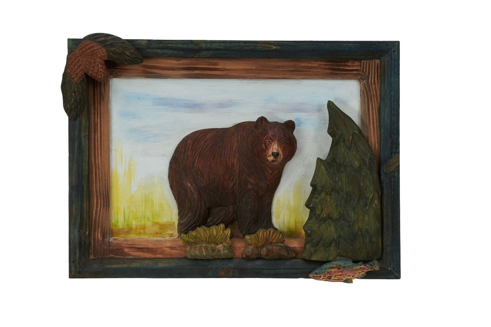 Black Bear Wood Carving Wall Art Cabin Rustic Decor 7995 Picclick