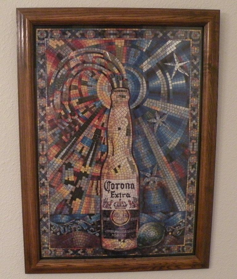 Corona Extra Mosaic Tile Mirror Sign 16 X 23 Wood Frame 1 Of See More