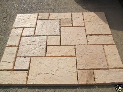 New york stone effect 18 x 9 paving slab path patio 2 for Garden decking and slabs
