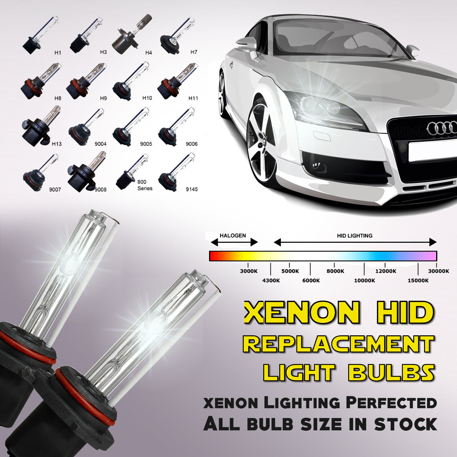 two replacement light bulbs universal h1 h3 h4 h7 h11 h13 9005 9006 xenon hid. Black Bedroom Furniture Sets. Home Design Ideas