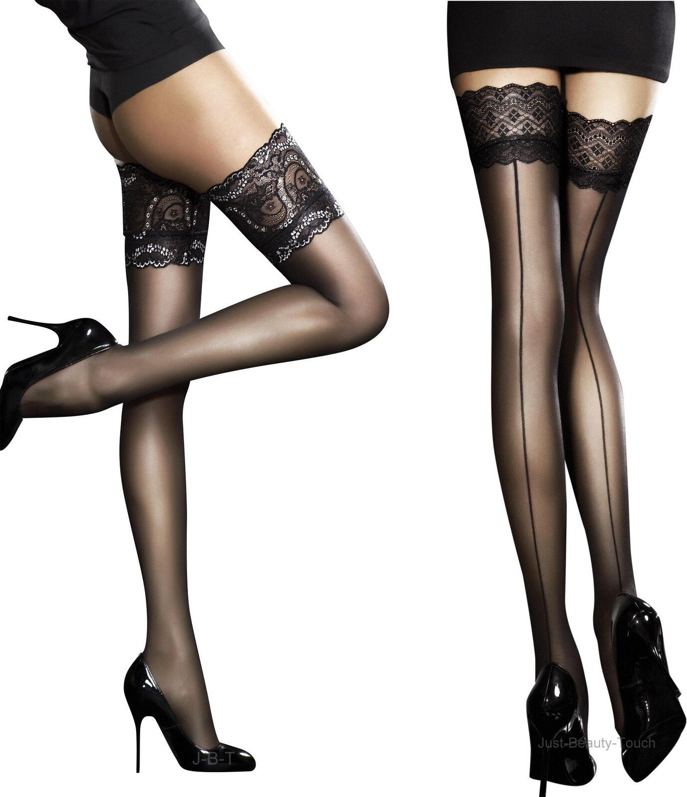Fiore sensuous sheer lace top hold ups stockings for Best place to buy stockings