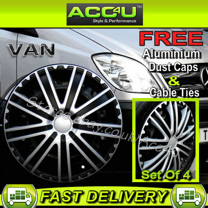 Mercedes benz sprinter van 16 black silver 9 spoke wheel for Mercedes benz sprinter wheel covers