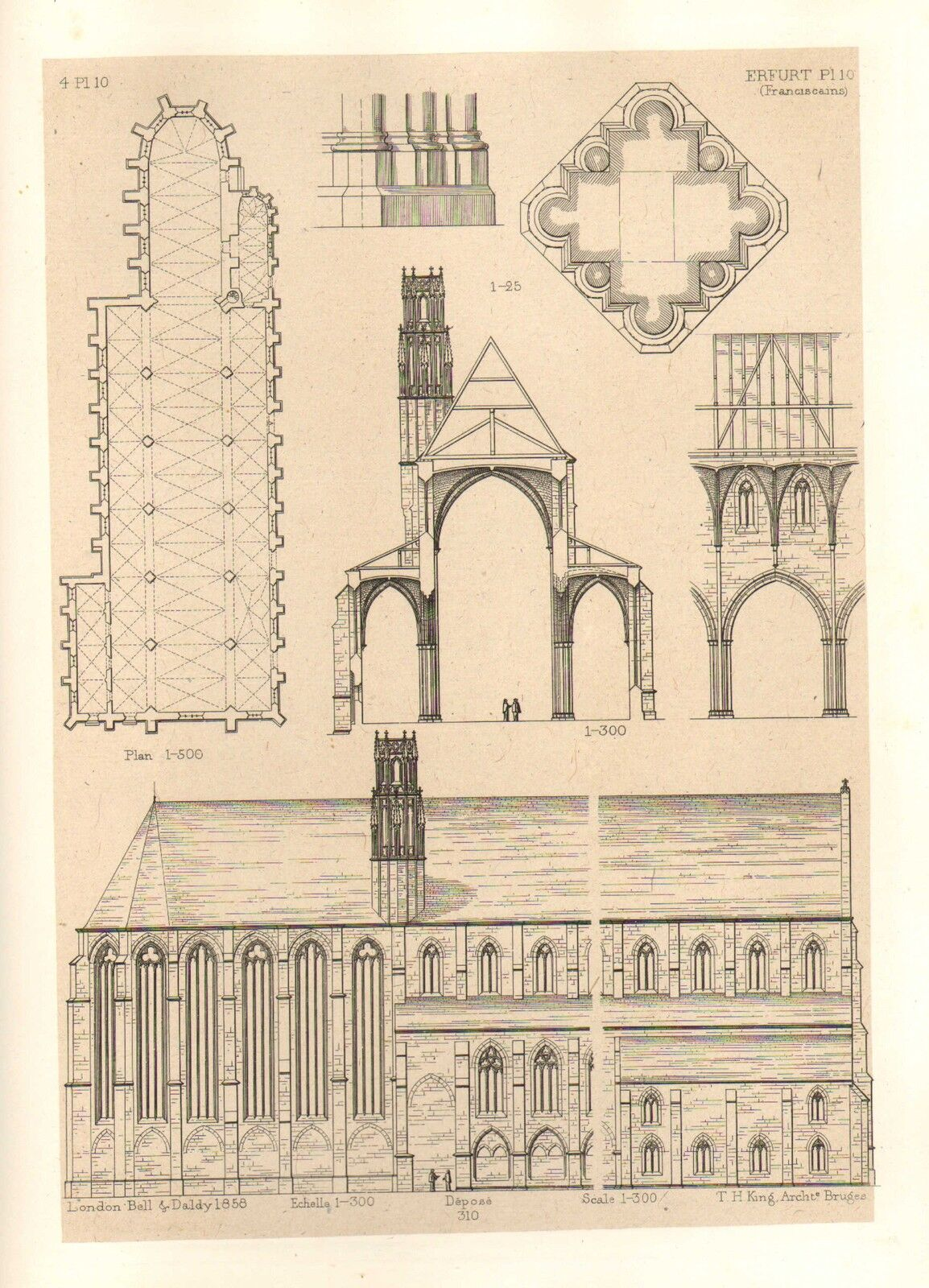 1858 large architecture print erfurth cathedral medieval Printing architectural drawings
