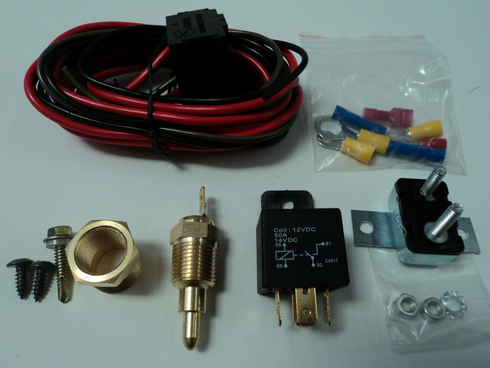 ELECTRIC FAN WIRING Install Kit Complete Thermostat 50 Amp Relay 185 ...