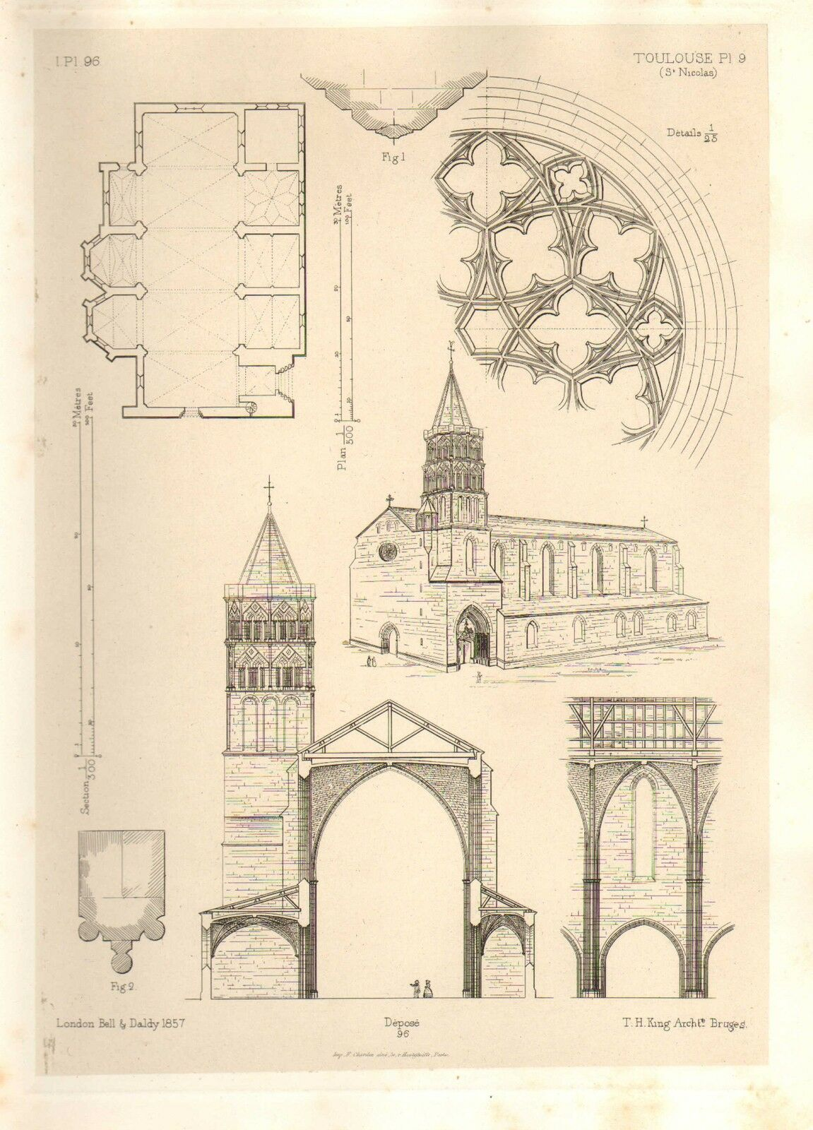 1857 large architecture print toulouse cathedral st for W architecture toulouse