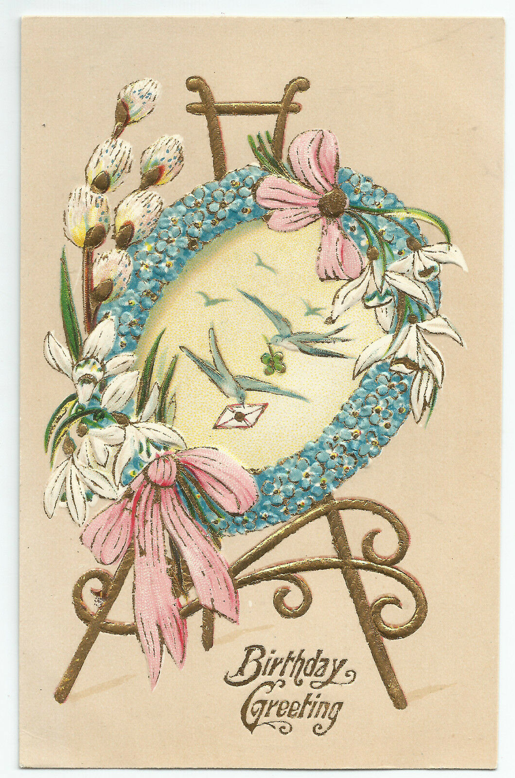 birthday flowers easel germany forget me nots asb vintage postcard