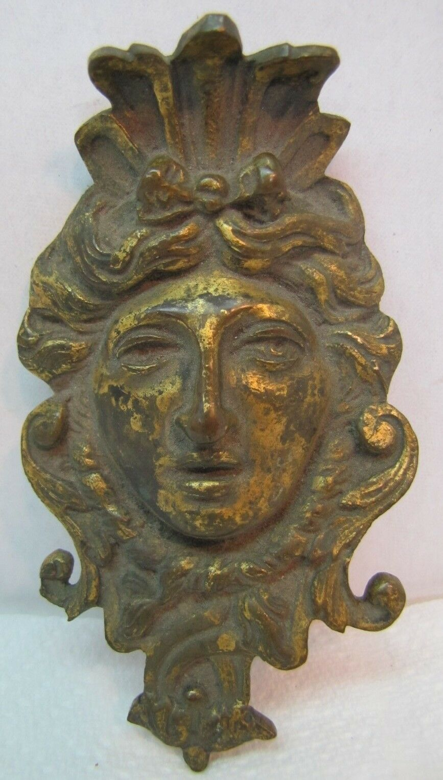 19c Antique Bronze Figural Face Hardware Ornate High Relief Architectural