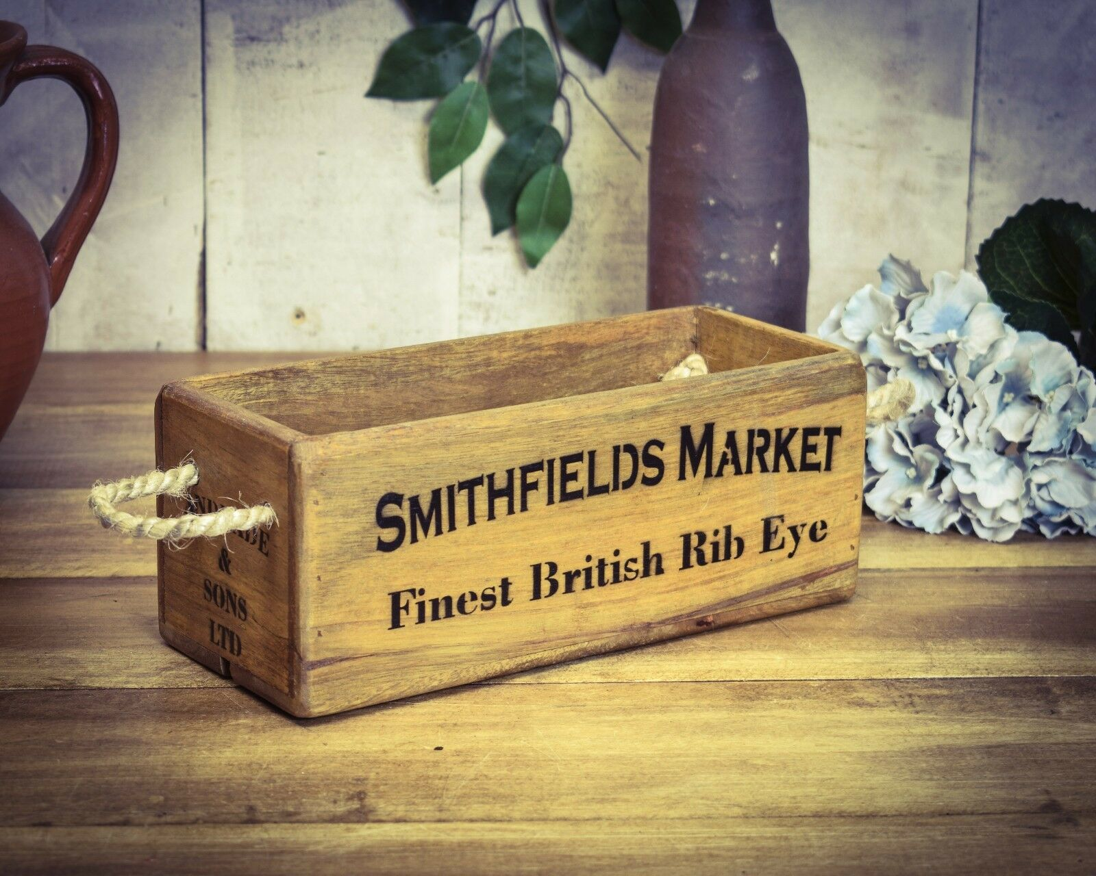 Vintage antiqued wooden box, crate, trug,  SMALL BOX, Smithfields Meat Market