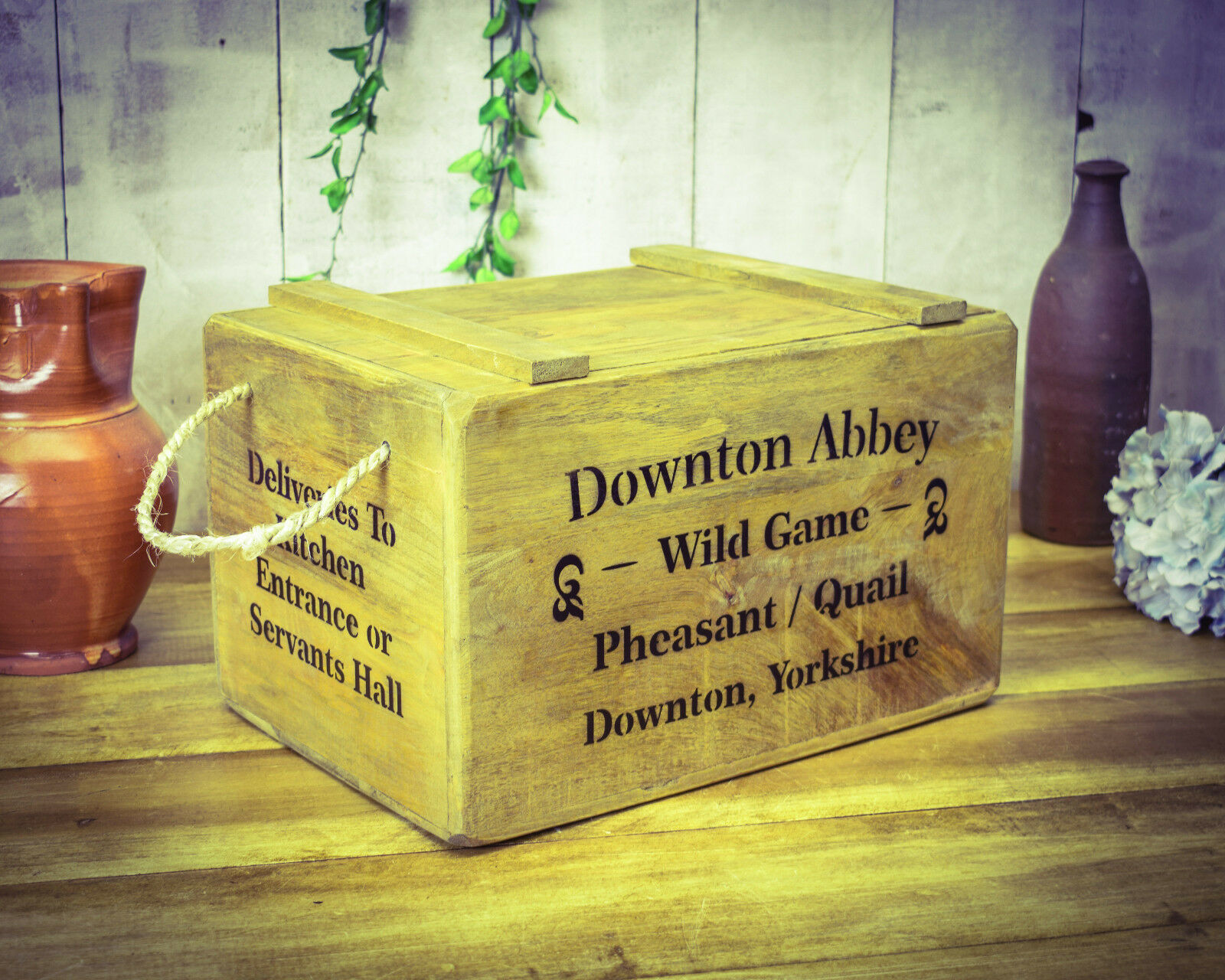 Vintage antiqued wooden box, crate,  Downton Abbey Chest