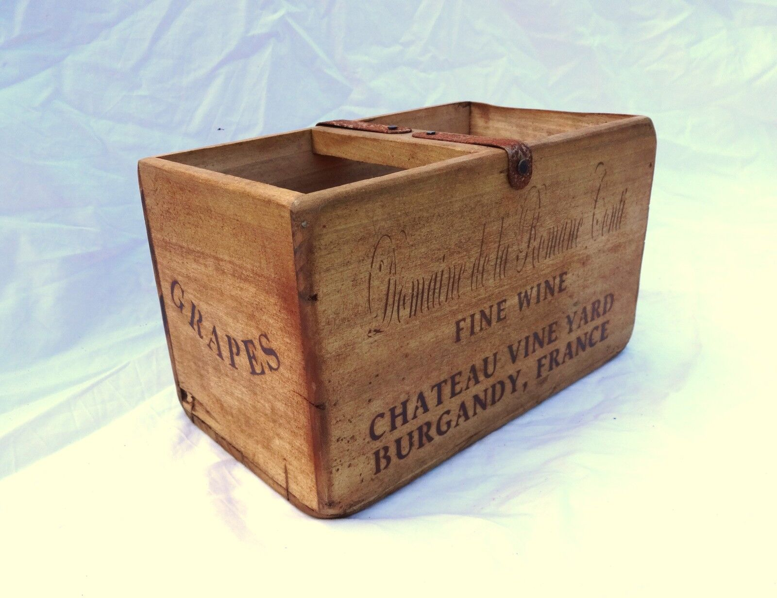 Vintage antiqued wooden box, crate, trug, FRENCH WINE / GRAPES BOX