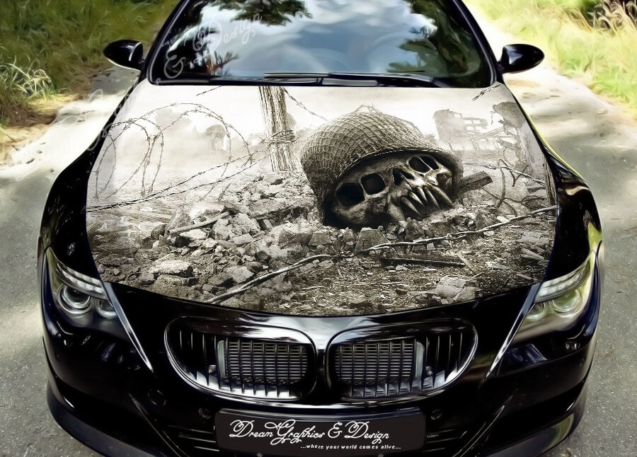 Ruins Full Color Graphics Adhesive Vinyl Sticker Fit Any Car Hood - Custom vinyl decals for car hoodssoldier full color graphics adhesive vinyl sticker fit any car