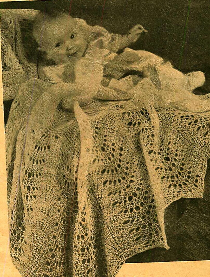 Vintage Knitting Pattern Sweet Lace Knit Baby Heirloom Christening