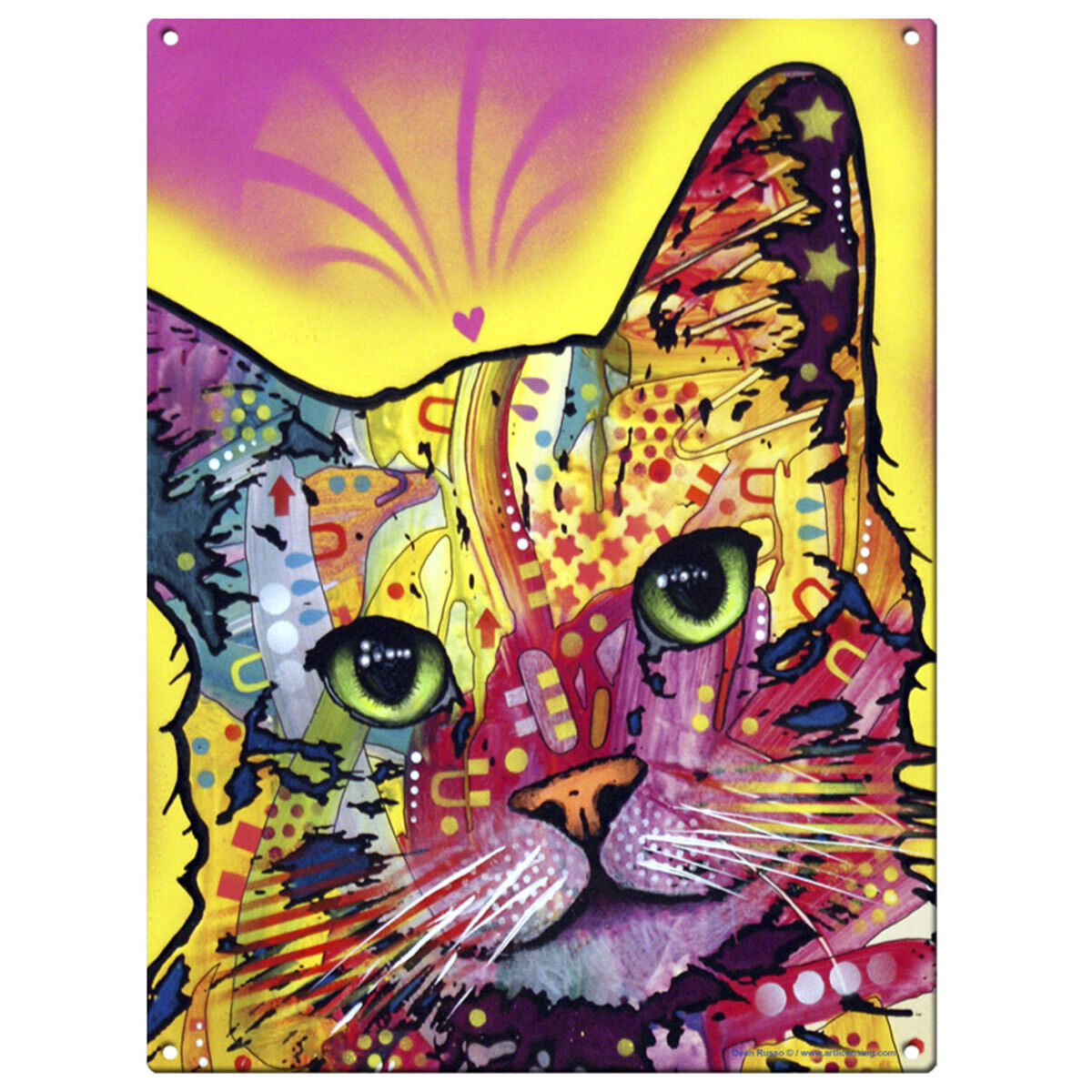 TILT CAT DEAN Russo Pop Art Sign Pet Steel Wall Decor 12 x 16 ...