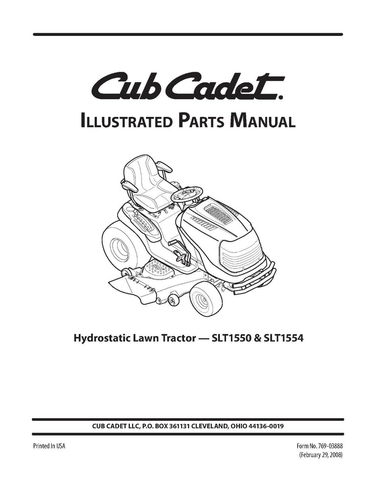 Cub Cadet Parts Manual Model No. SLT 1550 - SLT 1554 1 of 2FREE Shipping ...