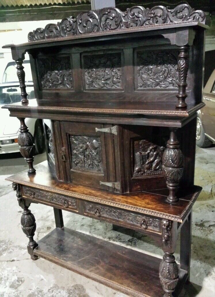 """19th C carved flemish oak court cupboard """" Arts and CRAFTS """" buffet sideboard"""