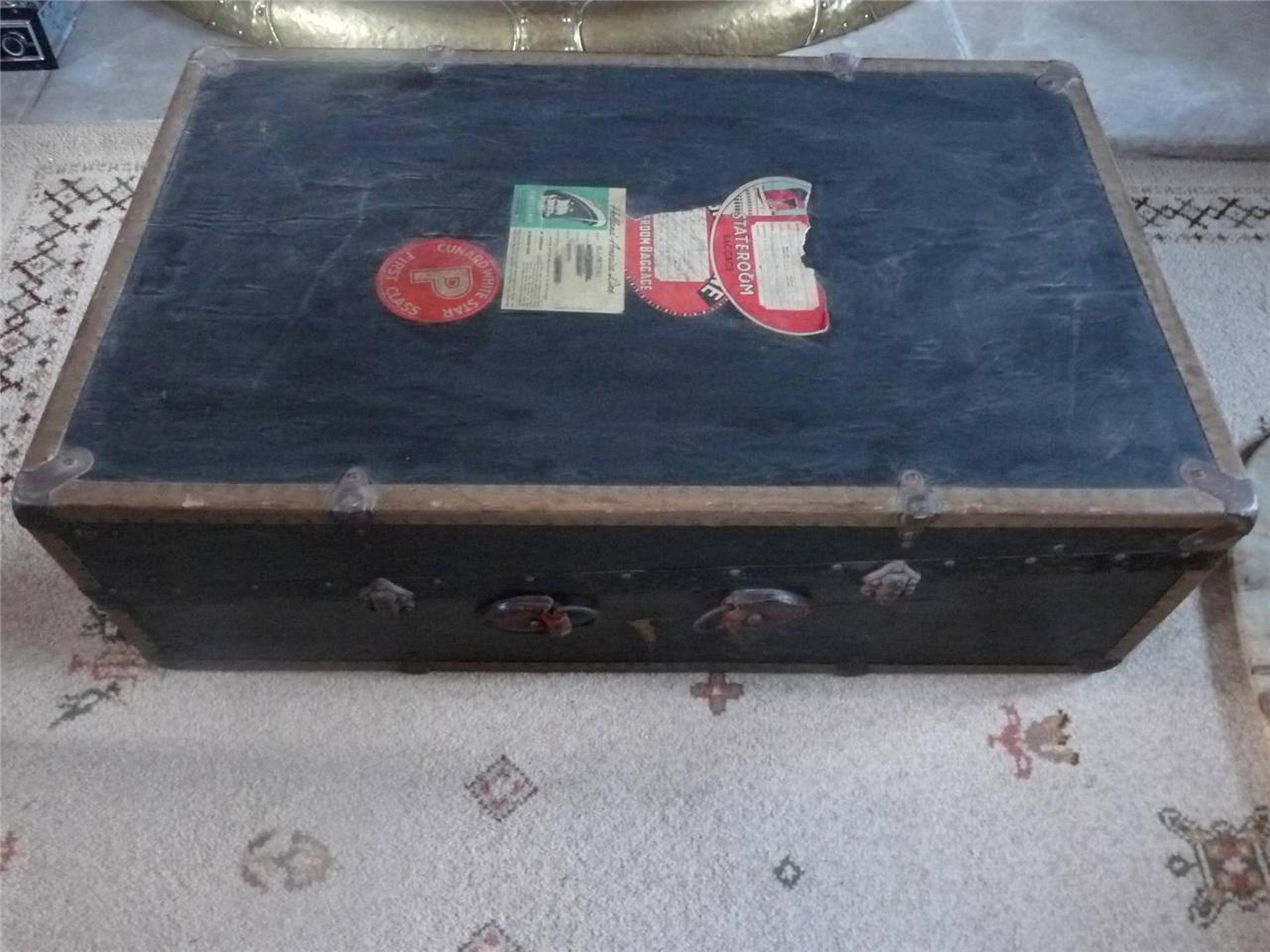 Lovely Vintage Steamer Trunk with Fittings/Hangers & Labels Cunard Storage/Table
