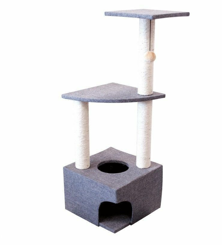 3 Level Cat Kitten Pet Play House Centre Scratcher Scratching Post/pole Tree New