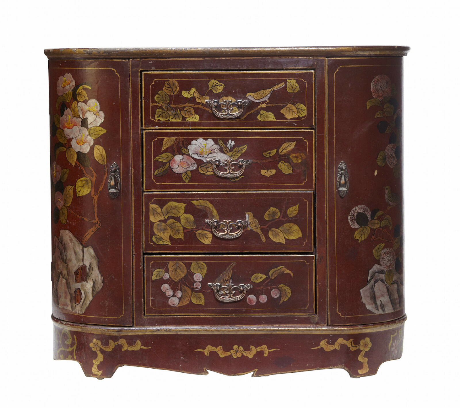 20Th Century Art Nouveau Inspired Lacquered Hand Painted Small Cabinet