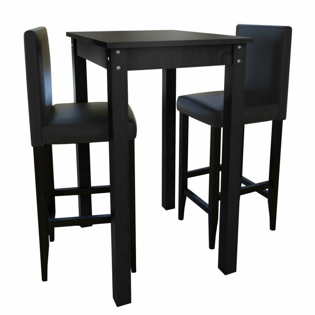 vidaxl bartisch stehtisch mit 2 barhocker barstuhl holz essgruppe design schwarz eur 121 99. Black Bedroom Furniture Sets. Home Design Ideas