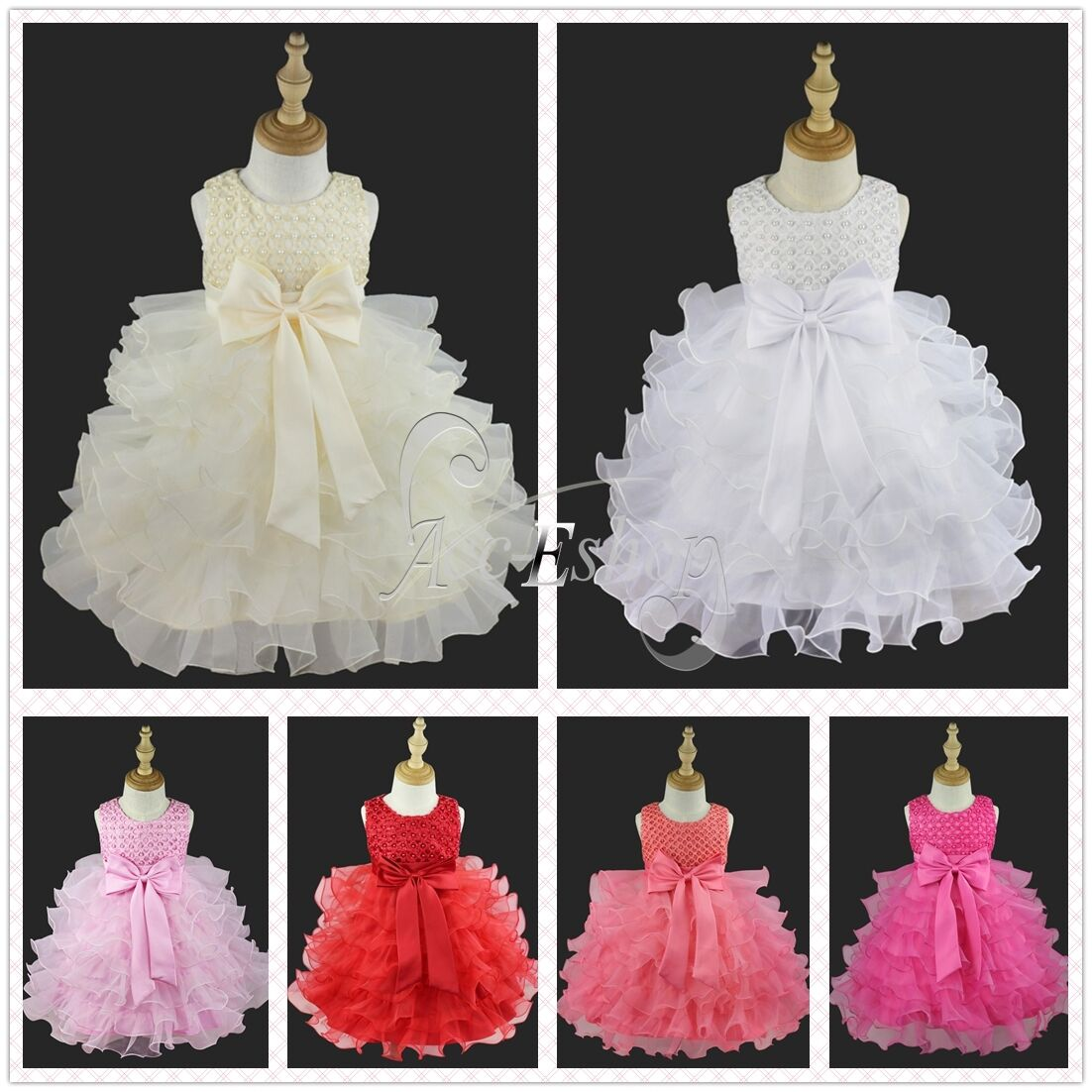 Flower Girls Princess Bow Dress Toddler Baby Wedding Party Pageant Tutu Pink 0 2th Dresses 1 Of 4free Shipping