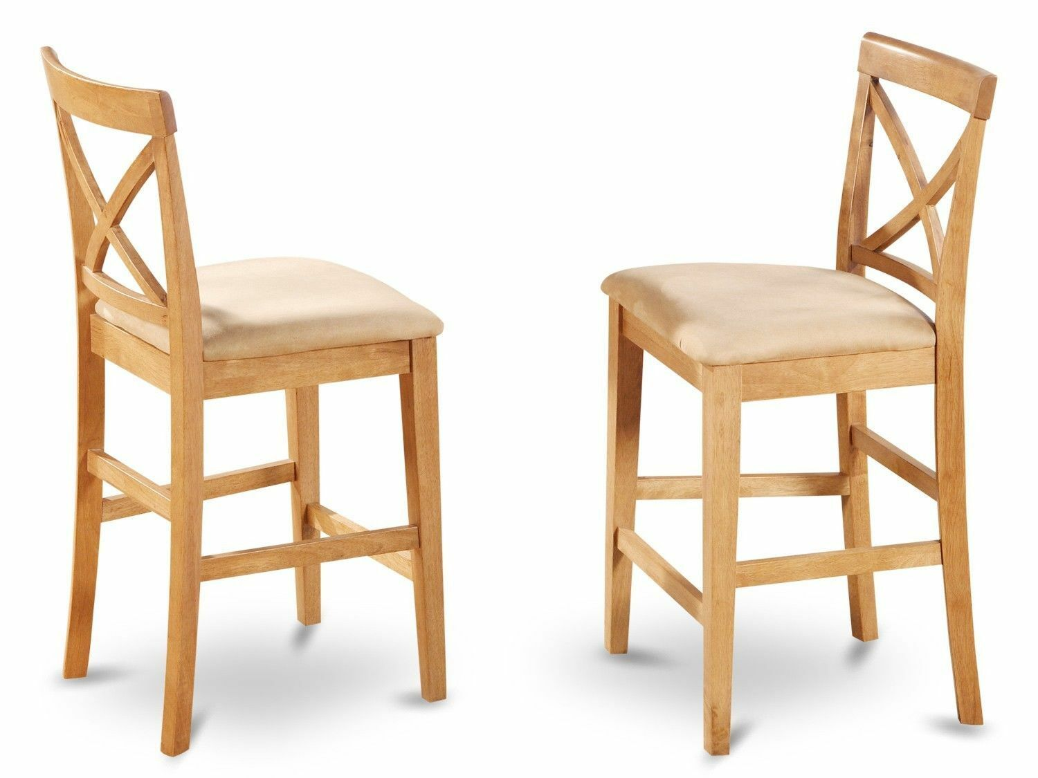 Set Of 2 Bar Stools Kitchen Counter Height Chairs W Padded Seat In Light Oak 1 9free Shipping