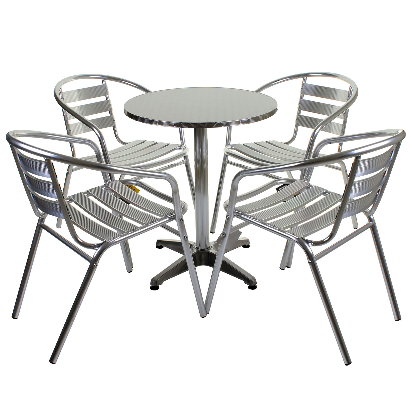 5 piece aluminium chrome bistro set table 4 chairs for Patio table and 4 chairs