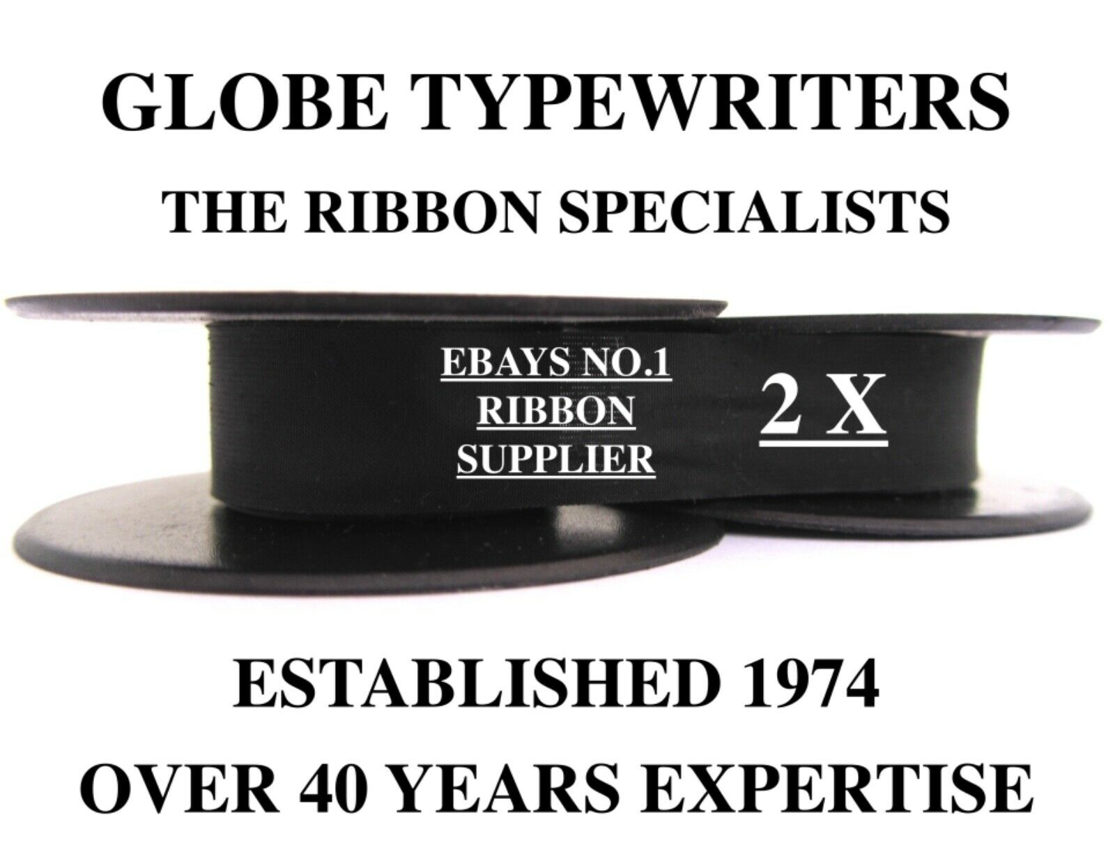 2 x 'OLYMPIA MONICA' *BLACK* TOP QUALITY *10M* TYPEWRITER RIBBONS *TWIN SPOOL*
