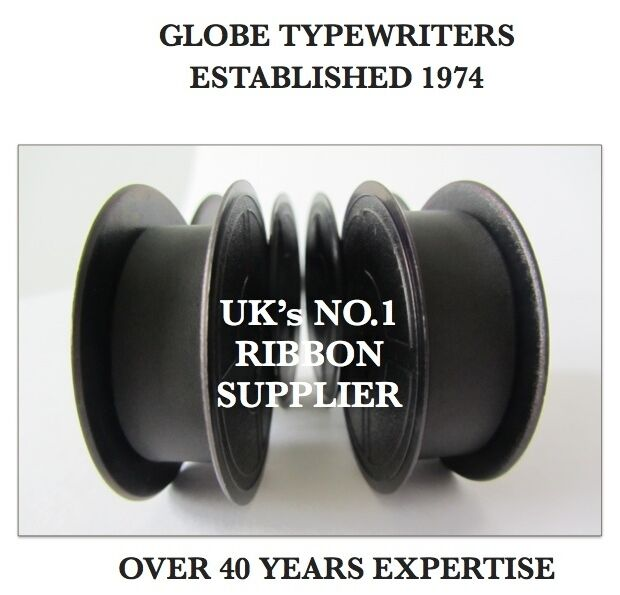 2 x 'IMPERIAL LITTON 203' *BLACK* TOP QUALITY *10M TYPEWRITER RIBBONS + EYELETS