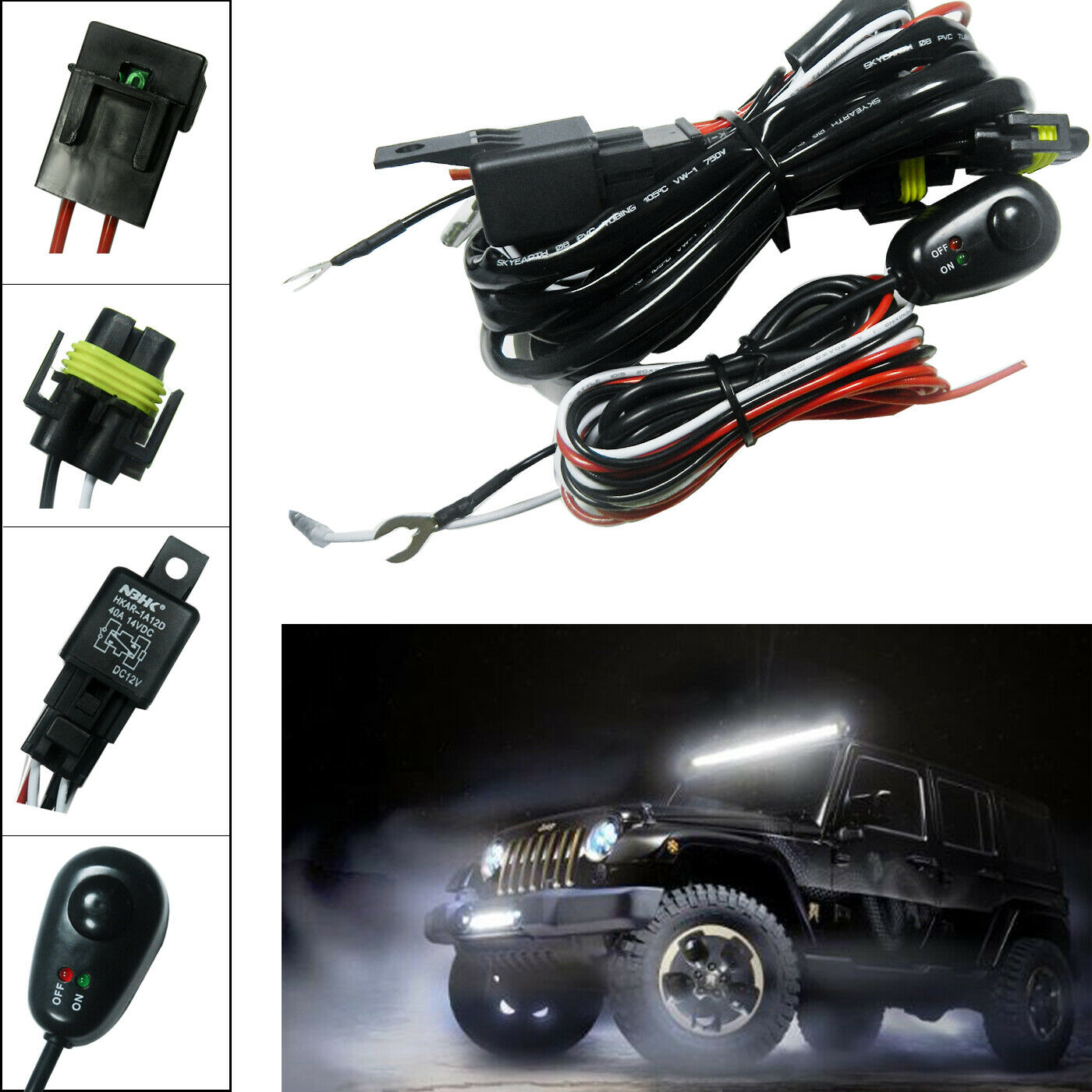 H11 H8 Relay Harness Wire Kit Led On Off Switch For Fog Lights Hid Wiring