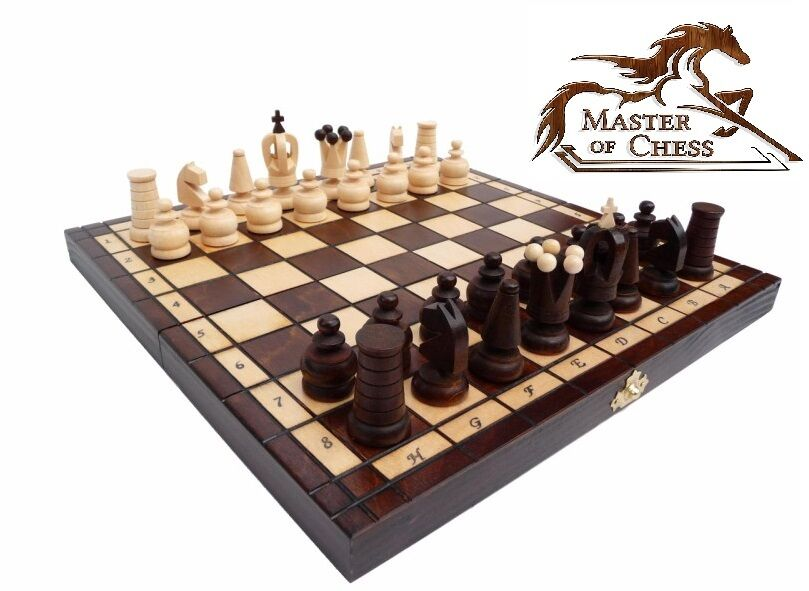 Superb royal maxi matt finish wooden chess set 31 x 31cm for Hand crafted chess set