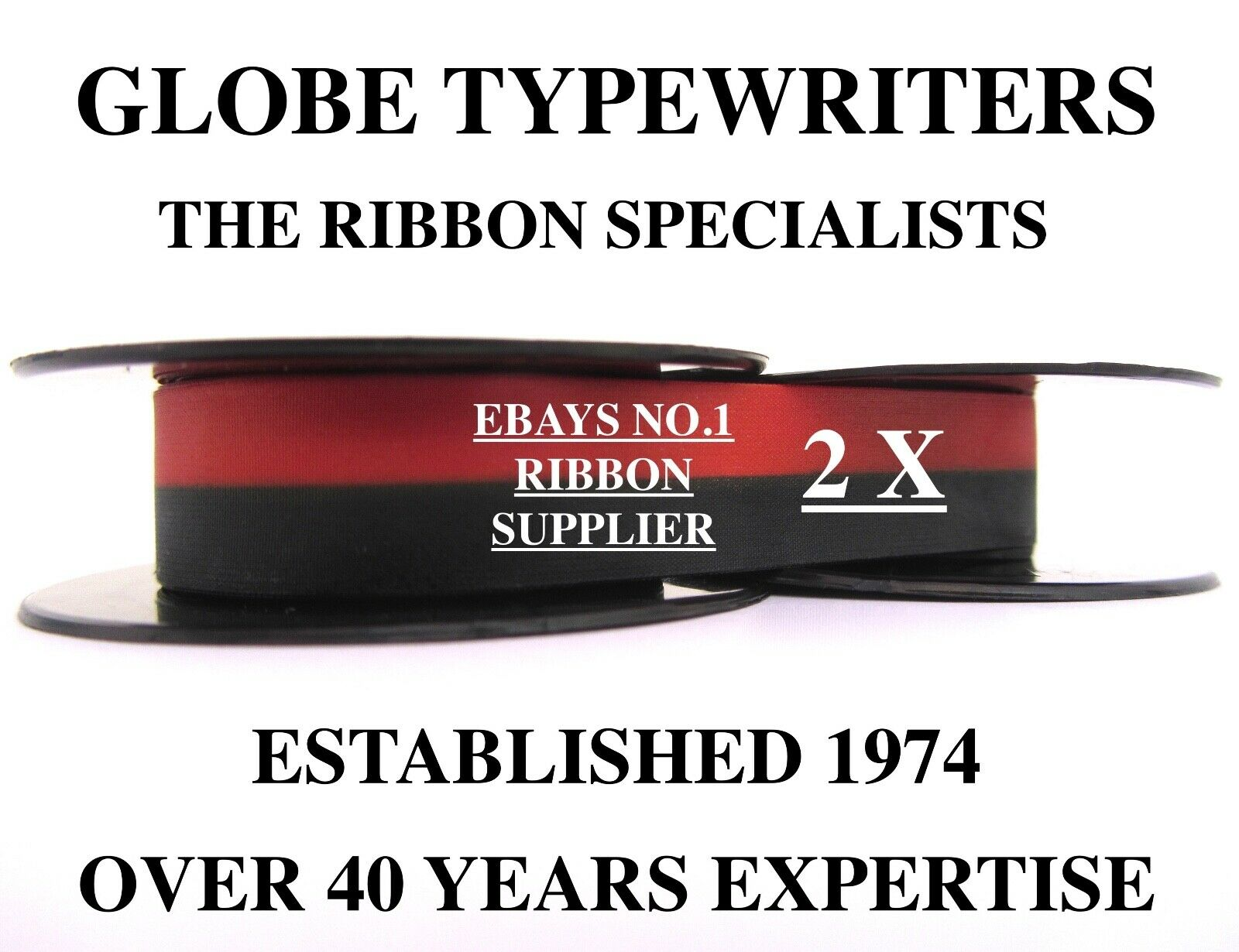 2 x 'OLIVETTI LETTERA 32' *BLACK/RED* TOP QUALITY *10 METRE* TYPEWRITER RIBBONS