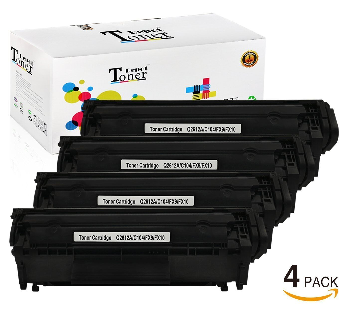 4pk Q2612a Ink Toner Cartridge For Hp 12a Laserjet 1010 1012 1018 Compatible 1020 1 Of 1free Shipping
