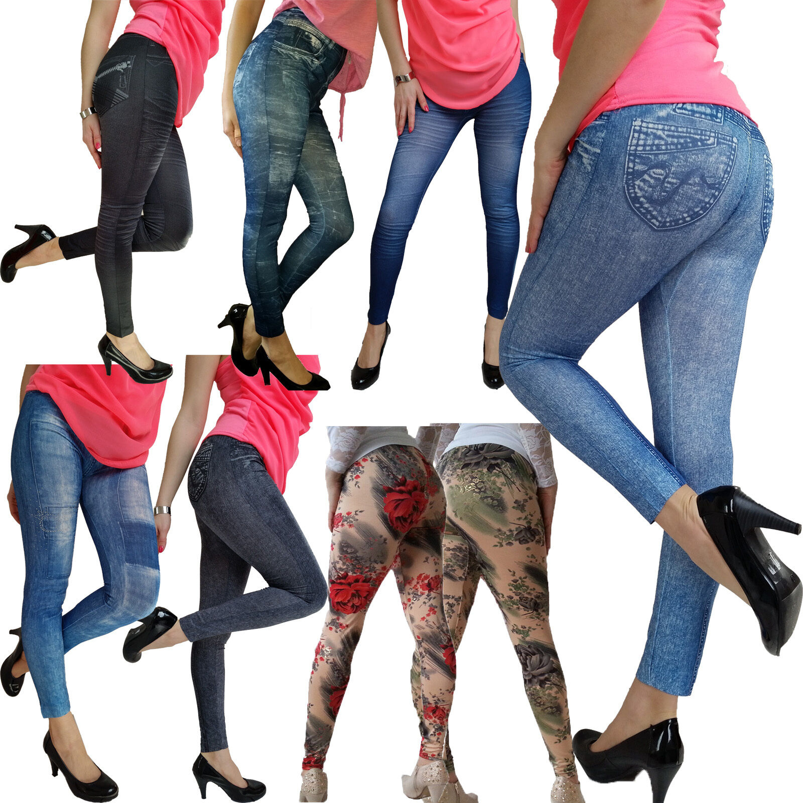 damen m dchen leggings hose jeansoptik destroyed jeggings. Black Bedroom Furniture Sets. Home Design Ideas