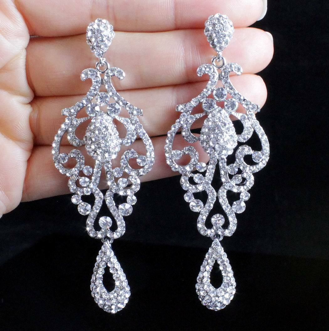 Pageant Austrian Crystal Rhinestone Silver Chandelier Dangle Earrings Prom E2090 1 Of 3