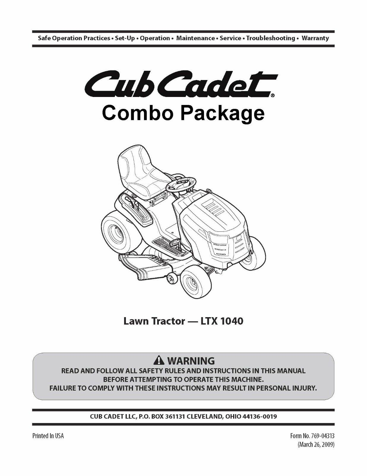 cub cadet model no ltx 1040 lawn tractor manuals combo package rh picclick com cub cadet model ltx 1040 owners manual 2009 cub cadet ltx 1040 owners manual
